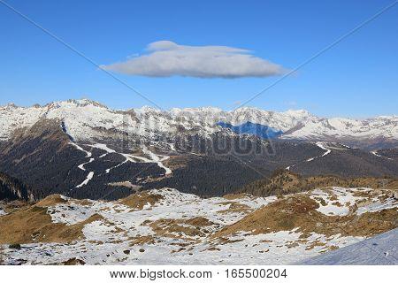Mountain landscape of Dolomite Alps in winter. Madonna di Campiglio Italy