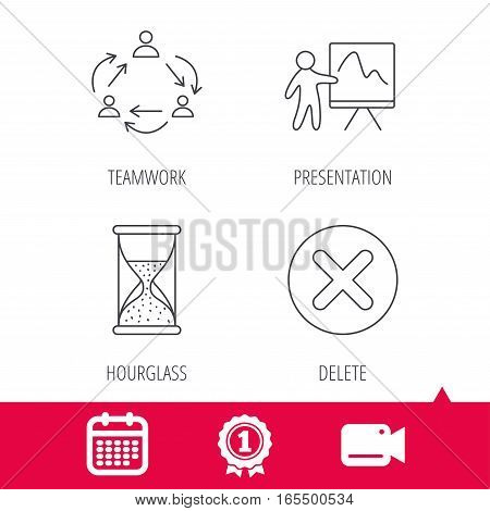 Achievement and video cam signs. Teamwork, presentation and hourglass icons. Delete or remove linear sign. Calendar icon. Vector
