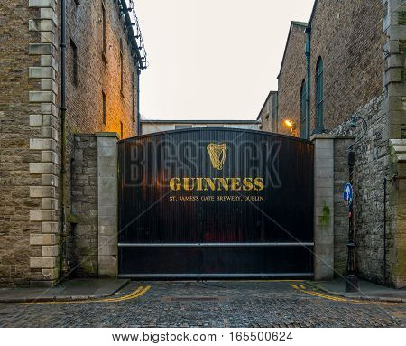 Dublin, Ireland - 17 Jan 2017: The gate of the Guinness Brewery, Dublin