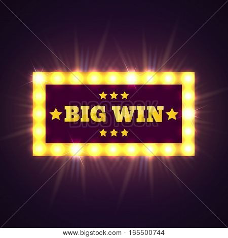 Big Win retro banner with glowing lamps. Vector illustration