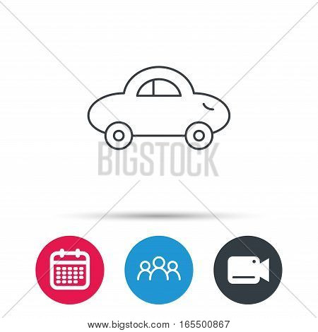 Baby car icon. Transport sign. Toy vehicle symbol. Group of people, video cam and calendar icons. Vector