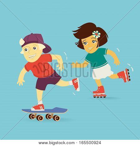 Boy and Girl Rollerblading Vector Illustration eps 8 file format