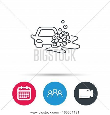 Car wash icon. Cleaning station sign. Foam bubbles symbol. Group of people, video cam and calendar icons. Vector