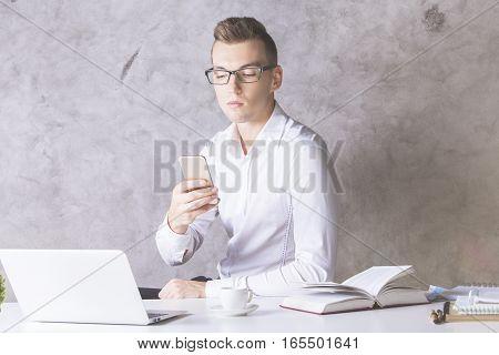 European Businessman Using Smartphone