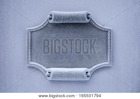 Architectural detail, stylized scroll, certificate of stone, granite or marble in the frosty hoarfrost, versatile background and texture for any information, advertising and printing