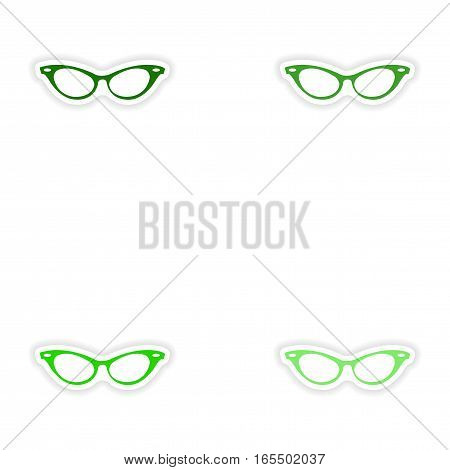 Set of paper stickers on white background glasses women
