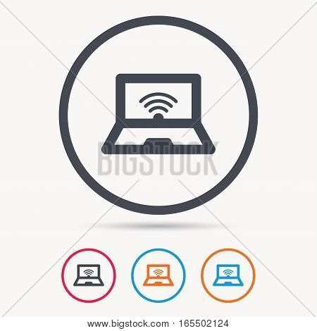 Computer with wifi icon. Notebook or laptop pc symbol. Colored circle buttons with flat web icon. Vector