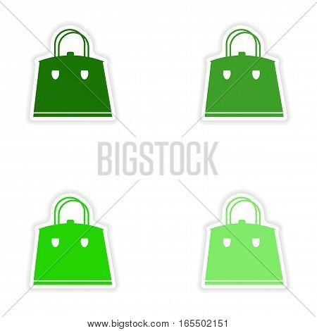 Set of paper stickers on white background ladies handbag