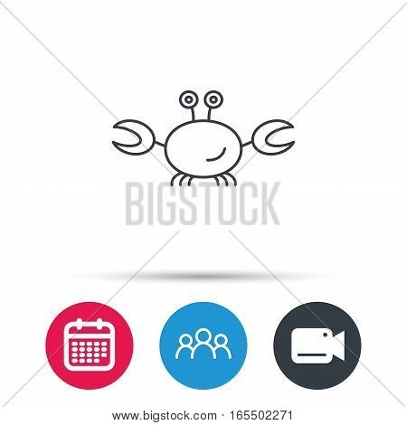 Crab icon. Cancer shellfish sign. Wildlife symbol. Group of people, video cam and calendar icons. Vector