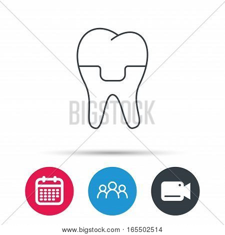 Dental crown icon. Tooth prosthesis sign. Group of people, video cam and calendar icons. Vector