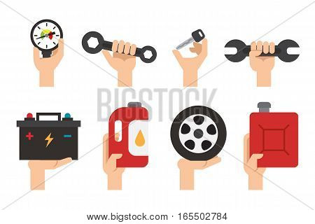 Car Maintenance service. Automechanic tools and equipment. Repair transport work. Vector set
