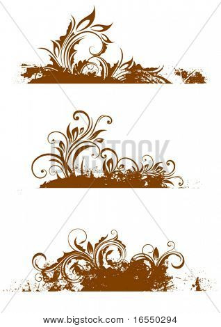 Vector floral borders