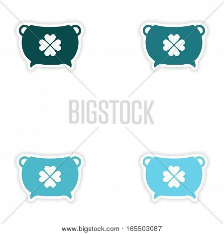 concept stylish paper sticker on white background bowler clover