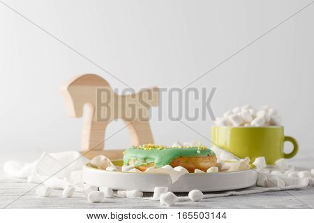 Kid Breakfast With Green Donut And Mini Marshmallow