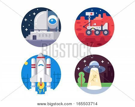 Pixel perfect space icons set. UFO and spacecraft. Vector illustration. Icon size - 128 px