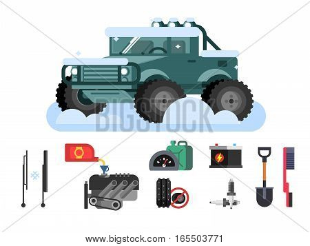 Preparing car to winter. Automobile rubber, SUV and canister oil, tire for snow, flat vector illustration