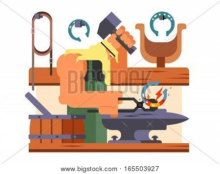 Blacksmith character. Hammer and anvil, worker and metal, person man, flat vector illustration