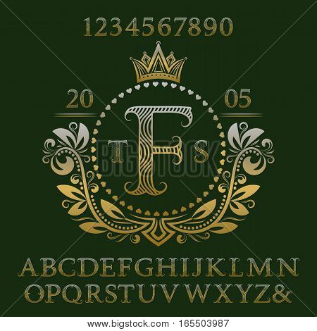 Golden wavy patterned letters and numbers with initial monogram in coat of arms form. Elegant font and elements kit for logo design.
