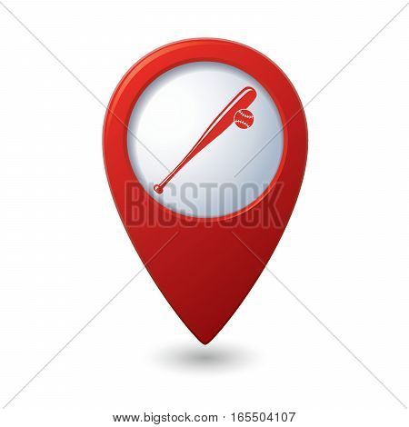 Red map pointer with baseball symbol icon
