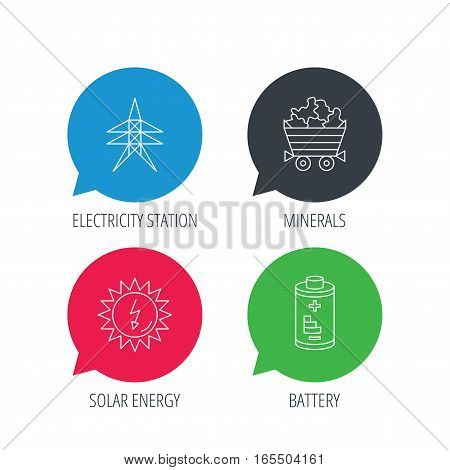 Colored speech bubbles. Solar energy, battery and minerals icons. Electricity station linear sign. Flat web buttons with linear icons. Vector