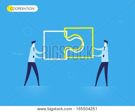Businessmen connect puzzle. Joint efforts, success, union. Vector illustration Eps 10 file. Success Cooperation