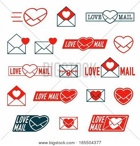 Large collection of Love Mail and Envelope Heart icons for romantic Valentines dating or anniversary correspondence in colorful bright red in various designs vector illustration
