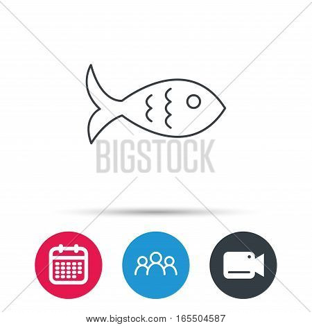 Fish icon. Seafood sign. Vegetarian food symbol. Group of people, video cam and calendar icons. Vector