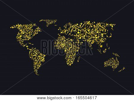 Golden sparkles World map. Abstract earth illustration