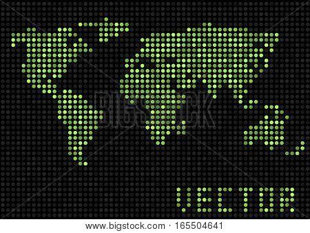 World map dots. Green pixels earth, Vector illustration