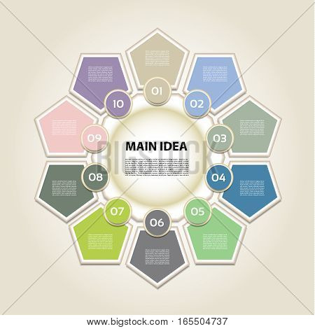 Vector infographic. Template for diagram graph presentation and chart. Business concept with 10 options parts steps or processes. Vector diagram. Progress background.
