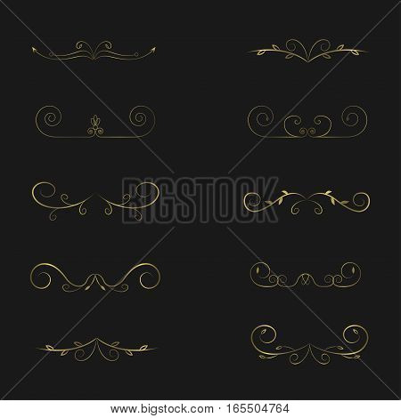 Calligraphic page dividers. Golden Calligraphic Design Elements for your page