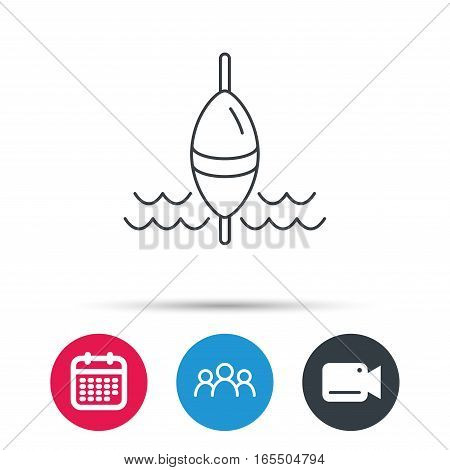 Fishing float icon. Fisherman bobber sign. Group of people, video cam and calendar icons. Vector