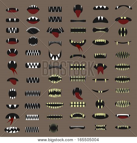 Cartoon mouth set. Monster face, Vector illustration