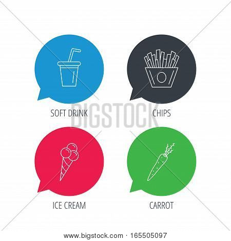 Colored speech bubbles. Chips fries, ice cream and soft drink icons. Carrot linear sign. Flat web buttons with linear icons. Vector