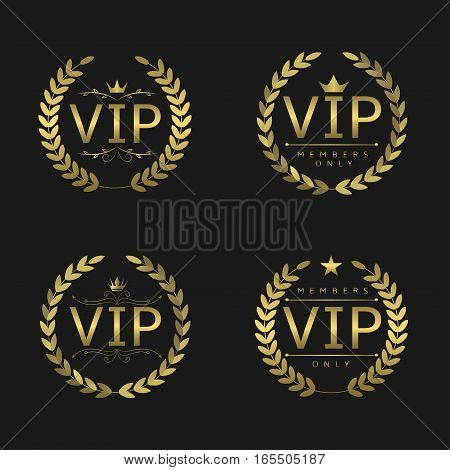 Golden VIP badges. Laurel wreath set, glory luxury glamour symbols