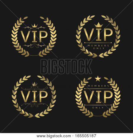 Golden VIP badges. Laurel wreath set, glory luxury glamour symbols