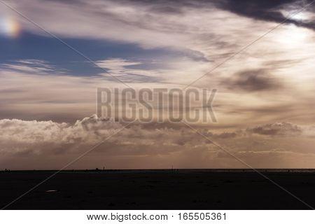 Cloudy Sky With Sundog