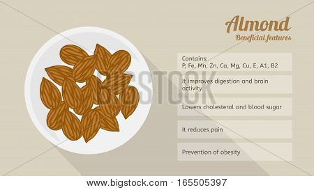 Almonds on a plate: the benefits and properties. Infographics