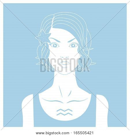 Zodiac. Vector illustration of Aquarius. Isolated on light blue background