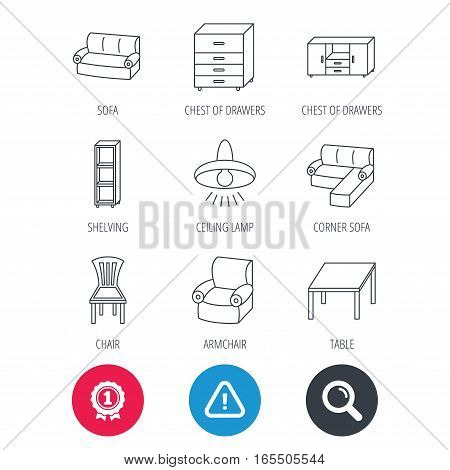 Achievement and search magnifier signs. Corner sofa, table and armchair icons. Chair, ceiling lamp and chest of drawers linear signs. Shelving, furniture flat line icons. Hazard attention icon. Vector