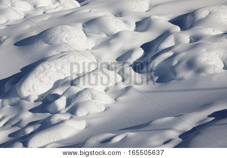 Full frame view of snowy pattern of Dolomite Alps