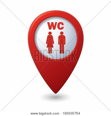 Red map pointer with restroom icons: lady, man. WC icon