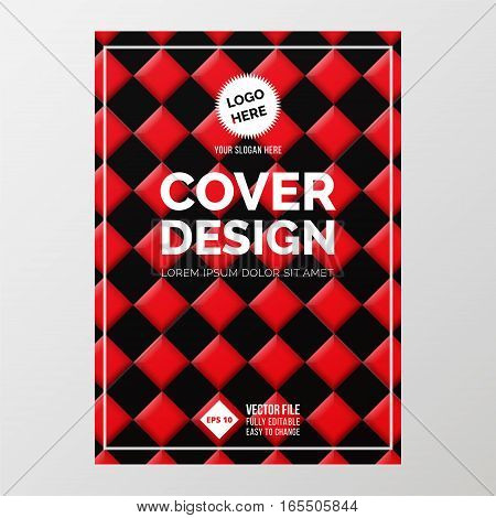 Cover Design Template in A4 size. Red and black squares. Annual report brochure design vector. Flyer layout with abstract background