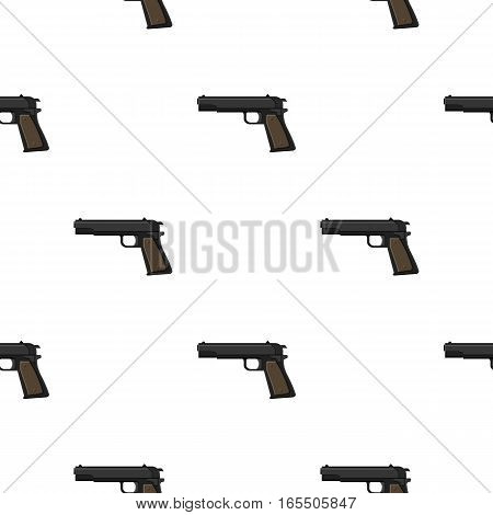 Military handgun icon in cartoon style isolated on white background. Military and army pattern vector illustration