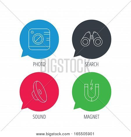 Colored speech bubbles. Photo camera, magnet and sound icons. Search linear sign. Flat web buttons with linear icons. Vector