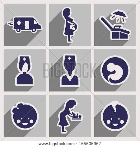 Set flat icons with long shadow Pregnancy and childbirth