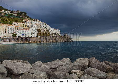 rainy season in amalfi coast south italy