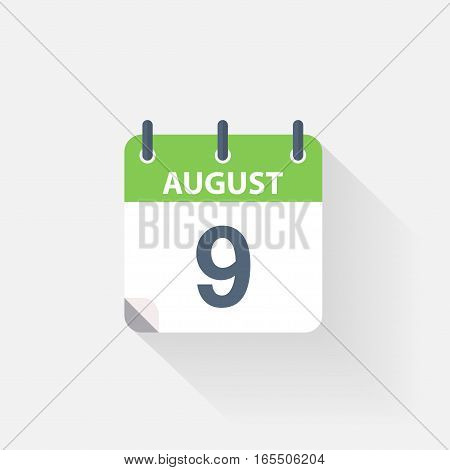 9 august calendar icon on grey background