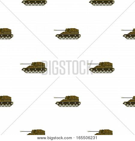 Military tank icon in cartoon style isolated on white background. Military and army pattern vector illustration