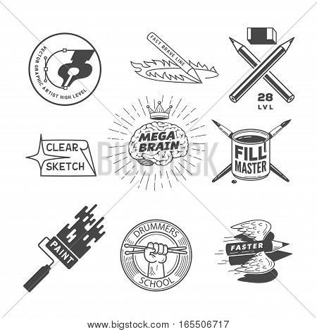 artist logos template set, isolated on white